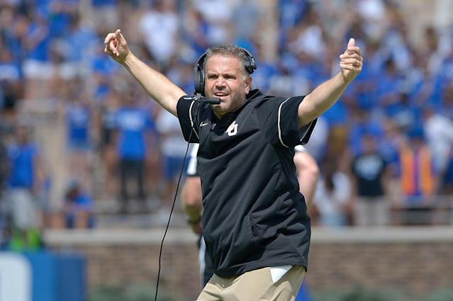 "DURHAM, NC – SEPTEMBER 16: Head coach Matt Rhule of the <a class=""link rapid-noclick-resp"" href=""/ncaab/teams/bae/"" data-ylk=""slk:Baylor Bears"">Baylor Bears</a> reacts during the game against the <a class=""link rapid-noclick-resp"" href=""/ncaab/teams/dau/"" data-ylk=""slk:Duke Blue Devils"">Duke Blue Devils</a> at Wallace Wade Stadium on September 16, 2017 in Durham, North Carolina. (Photo by Grant Halverson/Getty Images)"