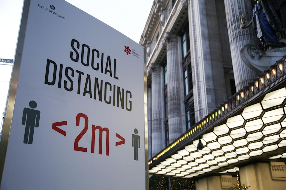Social Distancing 2M sign seen in central London. England is in the second national lockdown in until Wednesday 2 December, to control the spread of coronavirus cases. (Photo by Dinendra Haria / SOPA Images/Sipa USA)