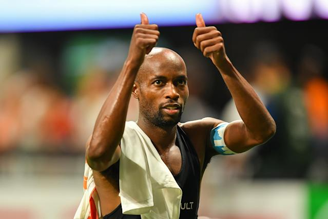 Houston Dynamo fullback DaMarcus Beasley, the only American man to appear in four World Cups, is also retiring this fall. (Rich von Biberstein/Getty)