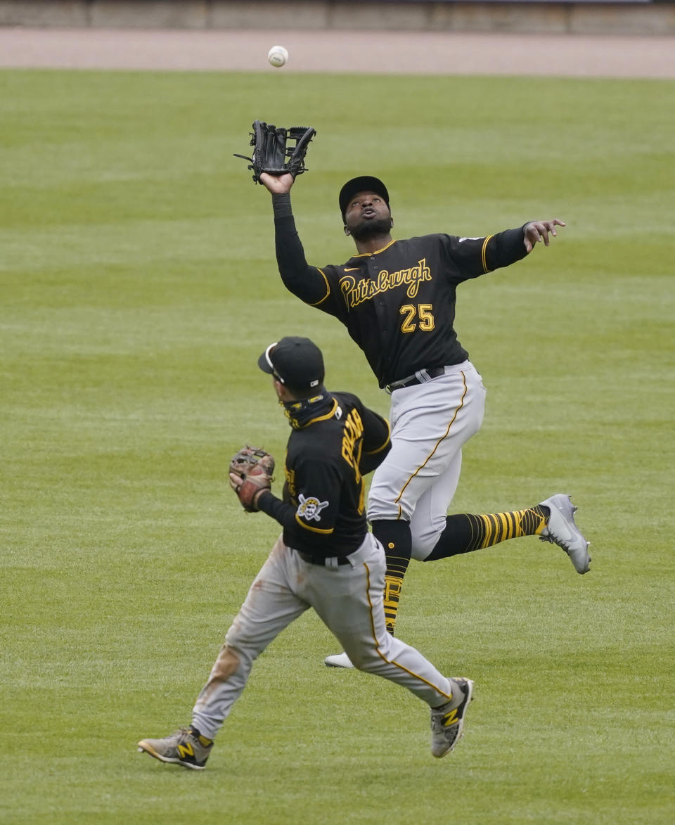 Pittsburgh Pirates right fielder Gregory Polanco catches the fly out hit by Detroit Tigers' Robbie Grossman during the seventh inning of a baseball game, Thursday, April 22, 2021, in Detroit. (AP Photo/Carlos Osorio)