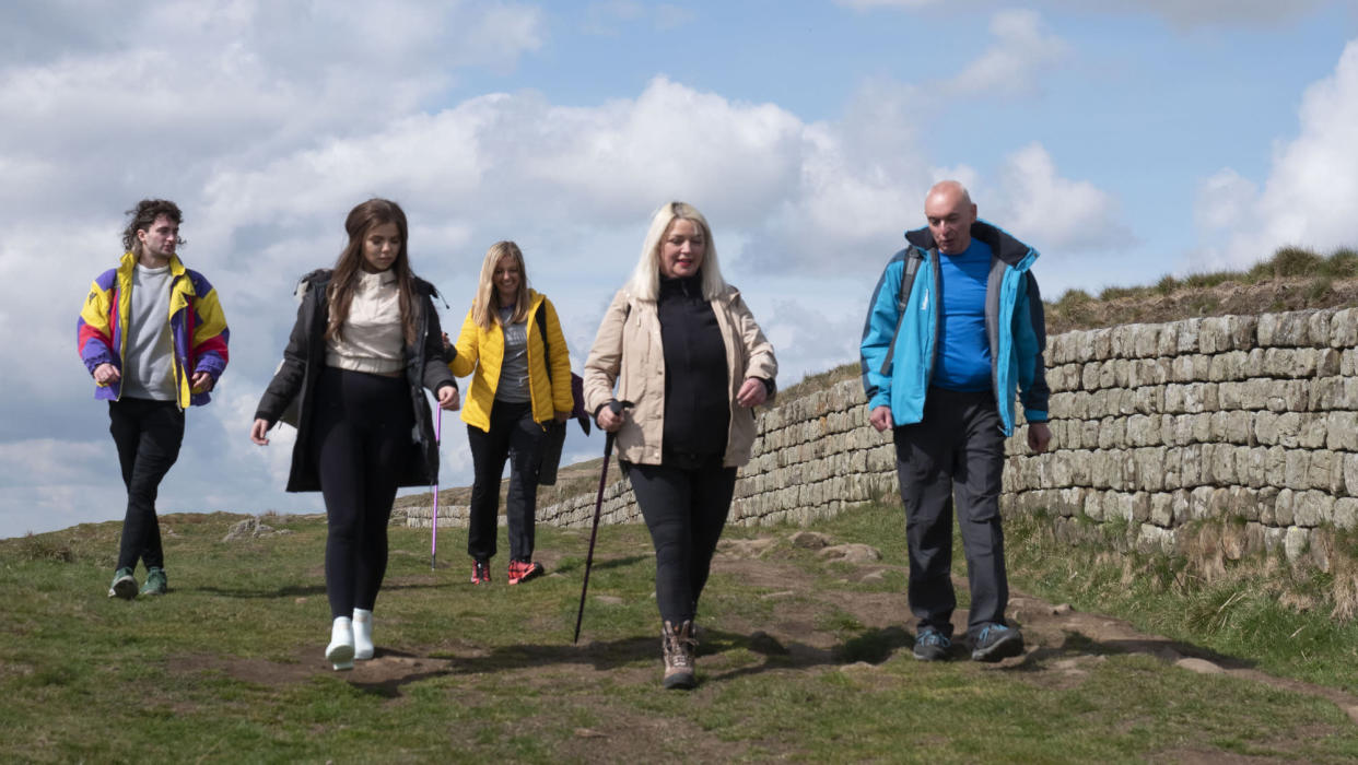 Programme Name: Take a Hike - TX: n/a - Episode: Take a Hike - ep6 - Northumberland (No. 6) - Picture Shows: (l-r) Angus, Jasmine, Teresa, Stephanie and Paul  - (C) Cardiff Productions - Photographer: Dewi Evans