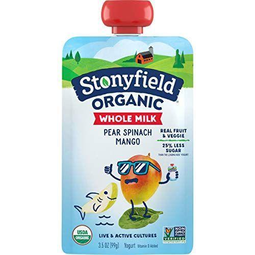"<p><strong>Stonyfield Organic</strong></p><p>amazon.com</p><p><strong>1.49</strong></p><p><a href=""https://www.amazon.com/dp/B072ZTYGD6?tag=syn-yahoo-20&ascsubtag=%5Bartid%7C10063.g.36163703%5Bsrc%7Cyahoo-us"" rel=""nofollow noopener"" target=""_blank"" data-ylk=""slk:Shop Now"" class=""link rapid-noclick-resp"">Shop Now</a></p><p>Yogurt can be a really important source of protein for little kids, and in pouch form, it's much less messy and much more convenient. This Stonyfield Organic pouch makes it easy to sneak some veggies into their diet as well (and they'll never know). These are made with very low sugar as well, and if you would prefer low-fat milk instead, they have those too. </p>"