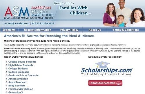 Screenshot from American Student Marketing website