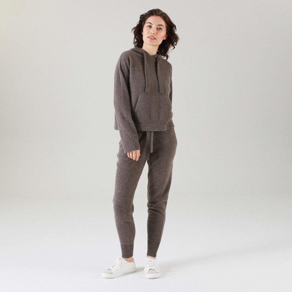 """<p>Considering how casual-cool this matching set looks, you'll have a hard time wearing it as exclusively loungewear. Available in six classic colors — the dark taupe one pictured is called Timber — both the pants and <a href=""""https://naadam.co/products/cashmere-tracksuit-hoodie-timber"""" rel=""""nofollow"""">the hoodie</a> ($175 each) are made with what Nadaam calls its """"softest ever"""" cashmere. And there's no shortage of pockets in either piece, letting you comfortably carry, your keys, your phone, or snacks.</p> <p><strong>$350 for both</strong> (<a href=""""https://naadam.co/products/cashmere-tracksuit-jogger-timber"""" rel=""""nofollow"""">Shop Now</a>)</p>"""