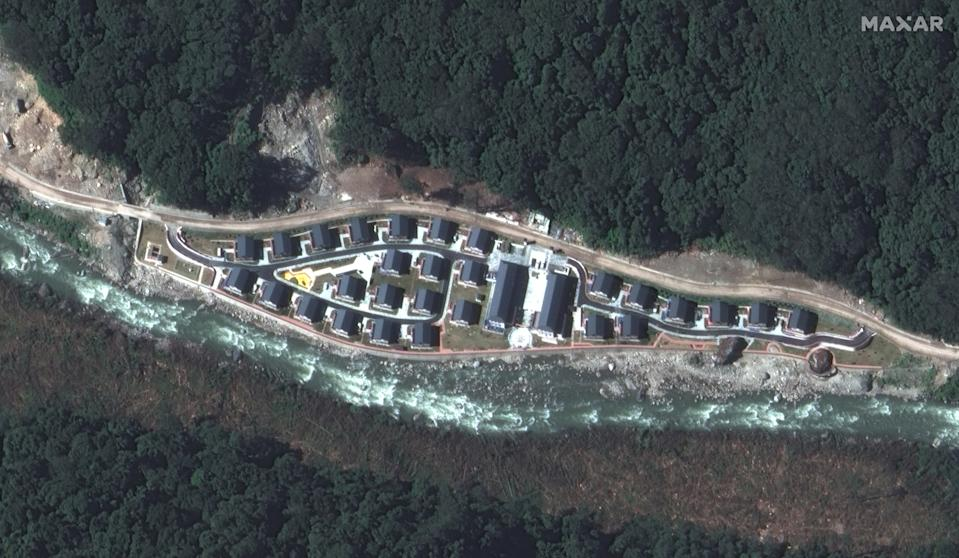 Satellite image of the Pangda Village, the new China settlement is in a far flung place near Bhutan border.