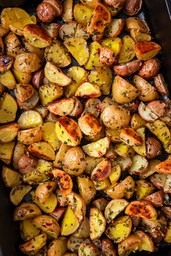 """<p>These are insanely easy to make, and will be devoured in minutes.</p><p>Get the recipe from <a href=""""https://www.delish.com/cooking/recipe-ideas/a22865719/herb-roasted-potatoes/"""" rel=""""nofollow noopener"""" target=""""_blank"""" data-ylk=""""slk:Delish"""" class=""""link rapid-noclick-resp"""">Delish</a>.</p>"""
