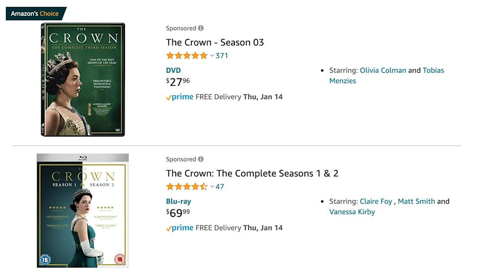 "You can buy DVDs of Netflix's ""The Crown"" on Amazon. (Photo: Amazon.com)"