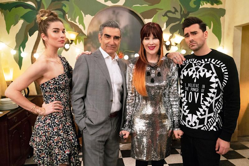"""This image released by Pop TV shows, from left, Annie Murphy, Eugene Levy, Catherine O'Hara and Dan Levy from the series """"Schitt's Creek."""" After six seasons, """"Schitt's Creek"""" is coming to a close. Its last episode airs Tuesday on Pop TV.  (Pop TV via AP)"""