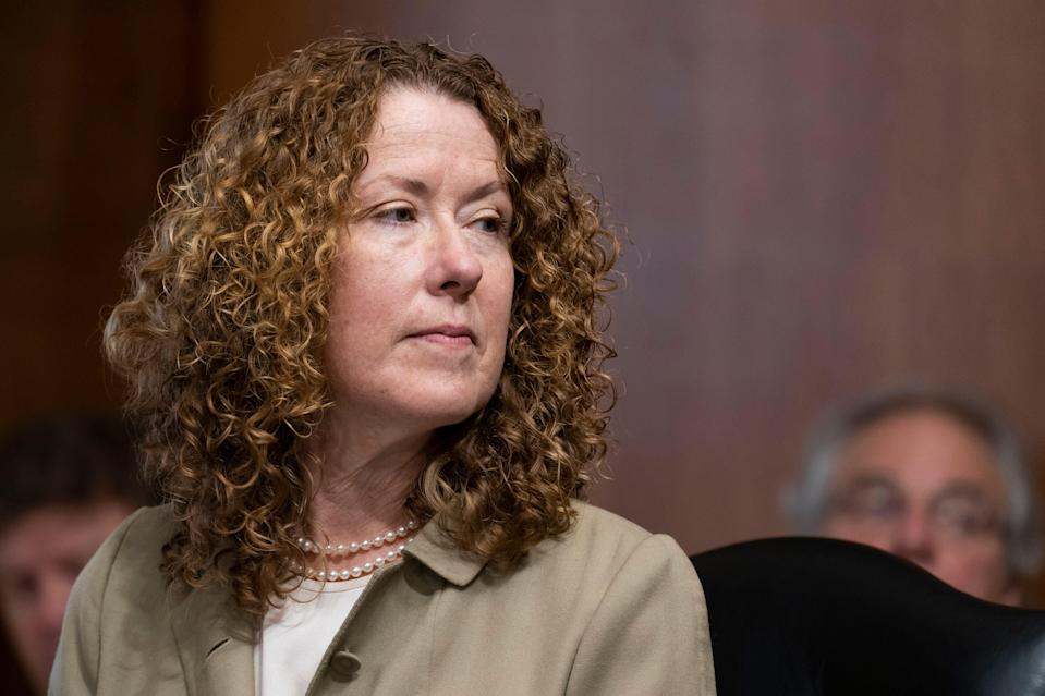 Tracy Stone-Manning, nominated to direct the Bureau of Land Management, at her confirmation hearing on June 8, 2021.