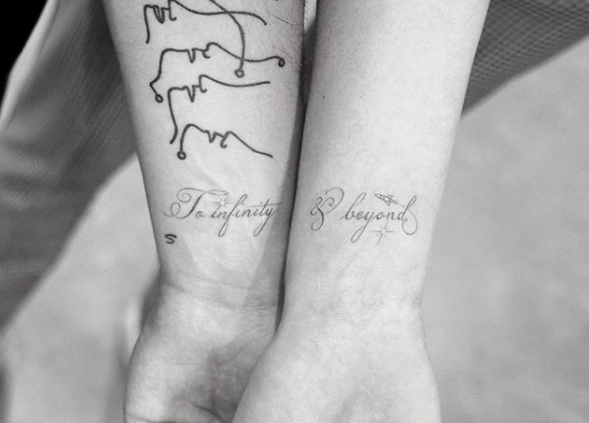 "<p>The soon-to-be newlyweds made things (kind of) official with this adorable couples tattoo that pays homage to <em><a href=""https://www.seventeen.com/celebrity/movies-tv/a23513093/toy-story-4-emotional-tim-allen/"" rel=""nofollow noopener"" target=""_blank"" data-ylk=""slk:Toy Story"" class=""link rapid-noclick-resp"">Toy Story</a>. </em>Seriously, does it get cuter than this? </p>"