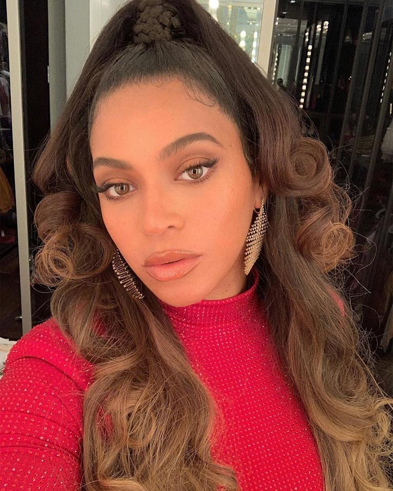 "Beyoncé wore a <a href=""https://www.instagram.com/p/B3xoGg7H2n1/"">voluminous updo</a> for a night out. Courtesy of Instagram."