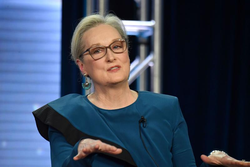 "PASADENA, CA - FEBRUARY 08: Actress Meryl Streep speaks onstage during the ""Big Little Lies"" panel of the HBO portion of the 2019 Winter TCA on February 8, 2019 in Pasadena, California. (Photo by Jeff Kravitz/FilmMagic for HBO)"