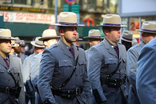 <p>The New York State Police march in the Veterans Day parade on Fifth Avenue in New York City on Nov. 11, 2017. (Photo: Gordon Donovan/Yahoo News) </p>
