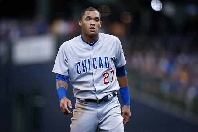 "<a class=""link rapid-noclick-resp"" href=""/mlb/teams/chi-cubs/"" data-ylk=""slk:Cubs"">Cubs</a> shortstop Addison Russell is under league suspension until May. (Photo by Dylan Buell/Getty Images)"