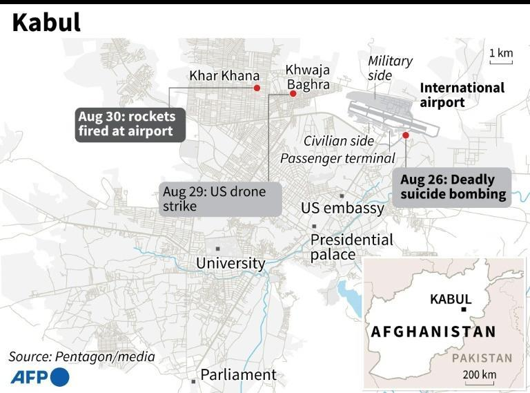 Map of Kabul, Afghanistan locating the deadly suicide bombing on August 26, 2021; a targeted US drone strike and rockets fired at Kabul airport on August 30 (AFP/STAFF)