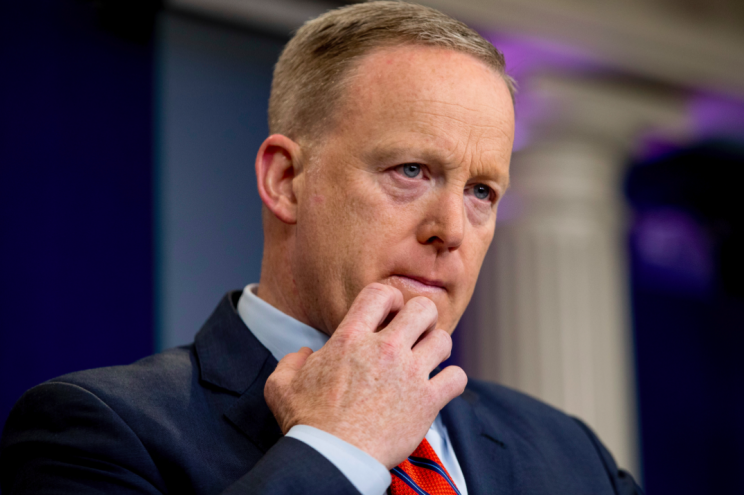 Sean Spicer addresses the press during the briefing in which he made his Hitler gaffe (Picture: AP)