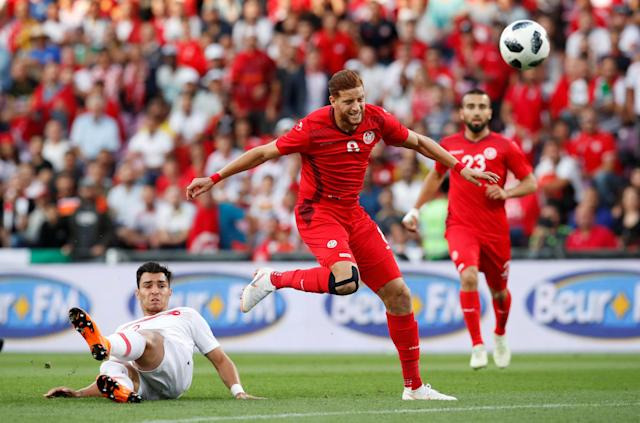 Soccer Football - International Friendly - Tunisia vs Turkey - Stade de Geneve, Geneva, Switzerland - June 1, 2018 Tunisia's Fakhereedine Ben Youssef misses a chance to score REUTERS/Denis Balibouse