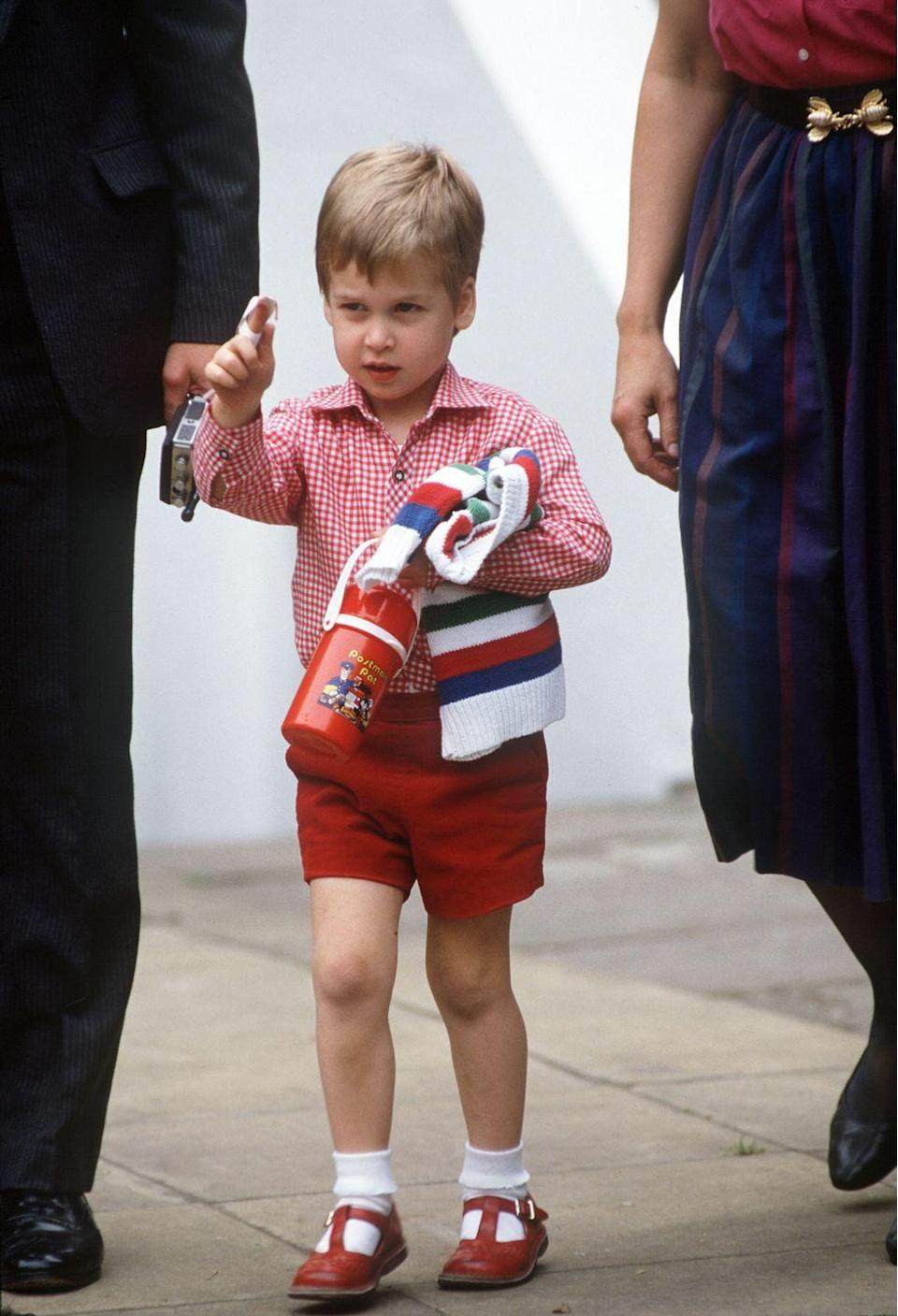 <p>Prince William came well-equipped for his first day at nursery on September 24, 1985. The three-year-old clutched a jumper and a flask as his parents accompanied him in to the nursery, Mrs Mynor's Nursery School in London's Notting Hill Gate.</p>