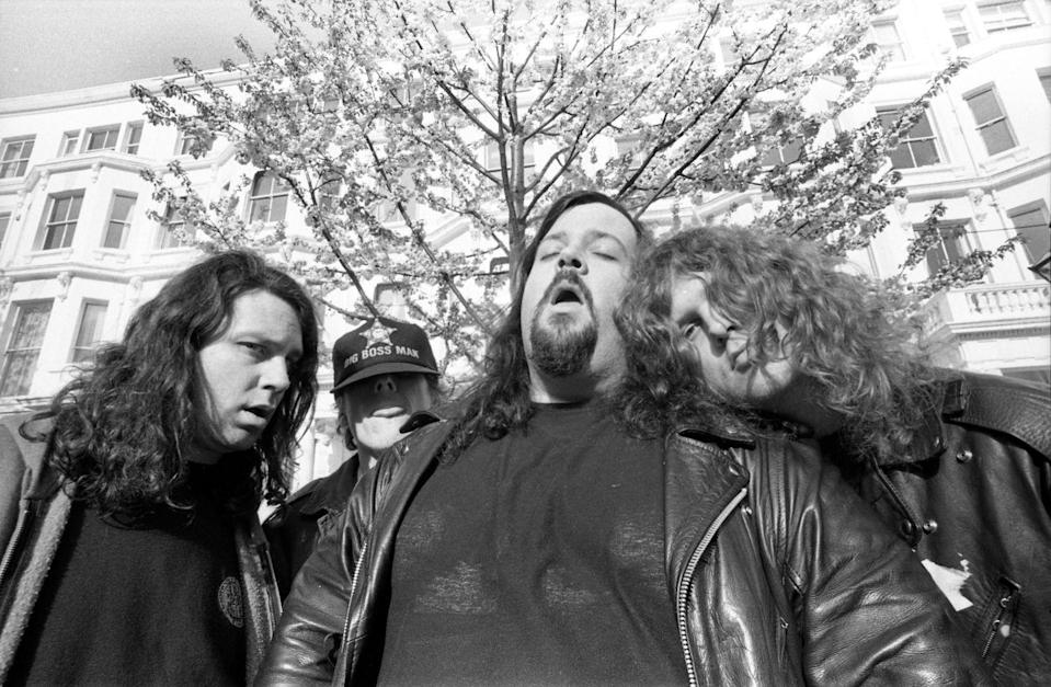 <p>Group portrait of American grunge band Tad, Notting Hill, London, United Kingdom, April 1991.</p>