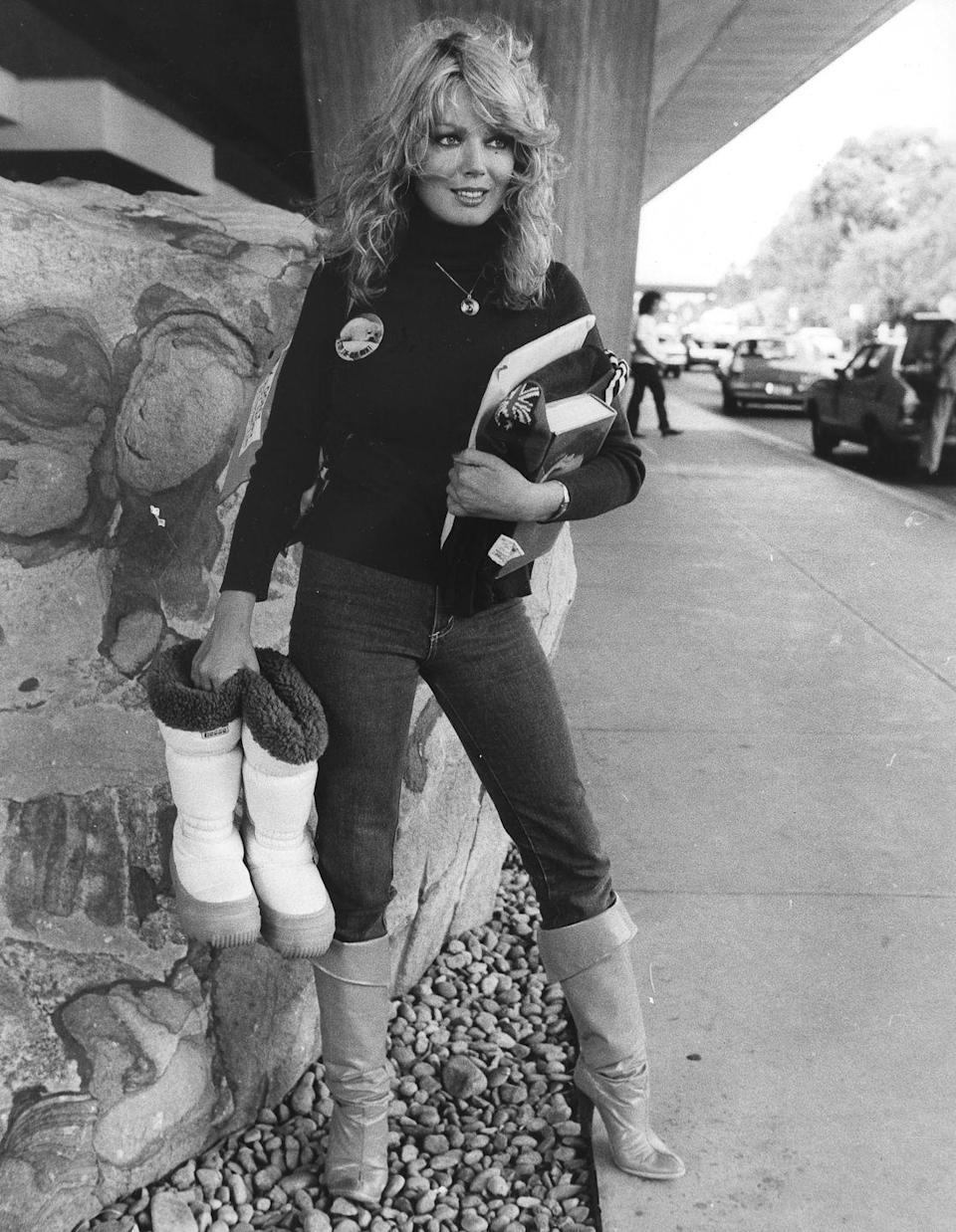 <p>Australian actress Lynda Stoner chooses a jeans silhouette with legs slim enough that she can tuck her pants into her boots.</p>