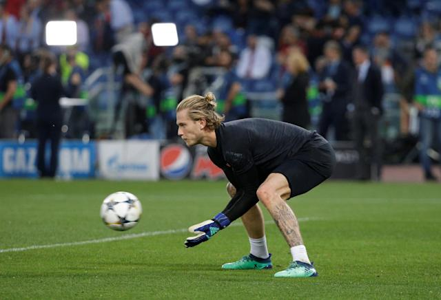 Soccer Football - Champions League Semi Final Second Leg - AS Roma v Liverpool - Stadio Olimpico, Rome, Italy - May 2, 2018 Liverpool's Loris Karius during the warm up before the match REUTERS/Max Rossi
