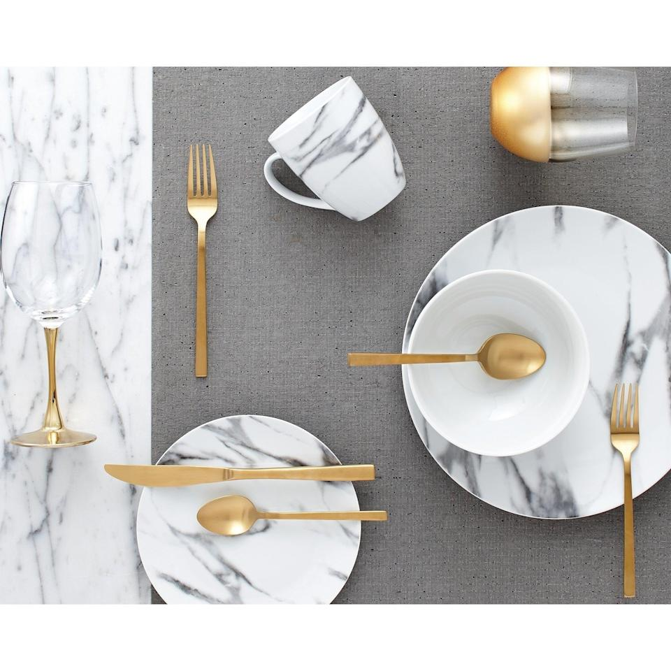 <p>Save this <span>Porcelain Marble Dinnerware Set (16 pieces)</span> ($45) for when you can host big dinner groups again.</p>