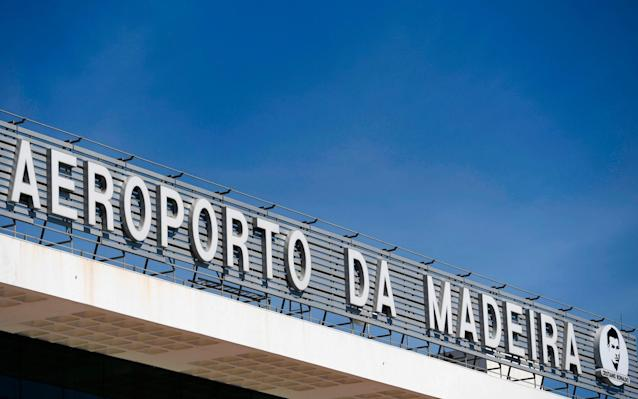 <span>The new Cristiano Ronaldo Airport, with his logo and profile visible bottom-right</span> <span>Credit: FRANCISCO LEONG/AFP/Getty </span>
