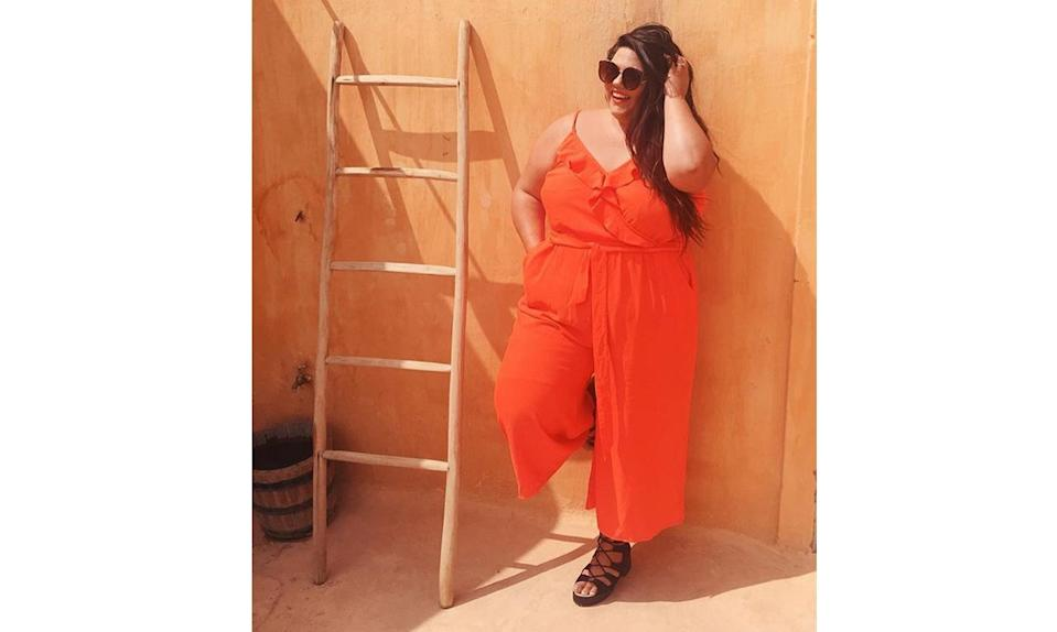"""<p>For an easy, bold look, go for a statement jumpsuit like <a href=""""https://www.instagram.com/p/BSOoRsQD-O1/?taken-by=calliethorpe"""" rel=""""nofollow noopener"""" target=""""_blank"""" data-ylk=""""slk:@calliethorpe's"""" class=""""link rapid-noclick-resp"""">@calliethorpe's</a> bright orange piece. </p>"""