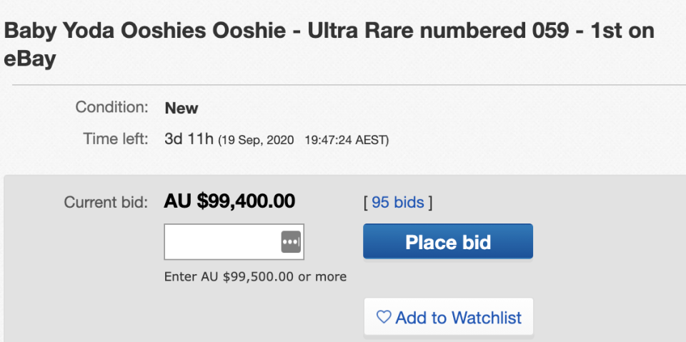 Photo shows an eBay listing for the ultra-rare furry The Child Ooshie, with the highest bid at $99,400.