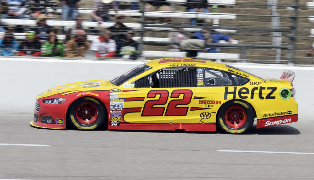 Joey Logano (22) drives during the NASCAR Sprint Cup series auto race at Texas Motor Speedway, Monday, April 7, 2014, in Fort Worth, Texas. (AP Photo/Larry Papke)