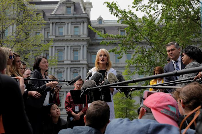 White House counselor Kellyanne Conway speaks to reporters about the release of the Mueller report on Thursday. (Photo: Lucas Jackson/Reuters)