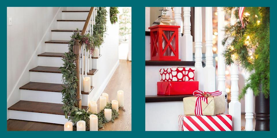 """<p>As the temperature drops and the holiday spirit fills the air, we welcome the change of seasons in many special ways. Whether you're planning a trip to pick out that <a href=""""https://www.elledecor.com/design-decorate/g2797/christmas-tree-ideas/"""" rel=""""nofollow noopener"""" target=""""_blank"""" data-ylk=""""slk:perfect tree"""" class=""""link rapid-noclick-resp"""">perfect tree</a> (or scoring a <a href=""""https://www.elledecor.com/design-decorate/trends/g13/alternative-christmas-trees/"""" rel=""""nofollow noopener"""" target=""""_blank"""" data-ylk=""""slk:chic alternative"""" class=""""link rapid-noclick-resp""""> chic alternative</a>) or decking out your <a href=""""https://www.elledecor.com/design-decorate/room-ideas/g22728600/christmas-mantel-decorations/"""" rel=""""nofollow noopener"""" target=""""_blank"""" data-ylk=""""slk:mantel"""" class=""""link rapid-noclick-resp"""">mantel</a> or <a href=""""https://www.elledecor.com/design-decorate/room-ideas/g22800552/christmas-porch-decorations/"""" rel=""""nofollow noopener"""" target=""""_blank"""" data-ylk=""""slk:front porch"""" class=""""link rapid-noclick-resp"""">front porch</a>, every space in your home can benefit from the full festive treatment. But if you're running out of room to spread cheer, we suggest you take your <a href=""""https://www.elledecor.com/design-decorate/interior-designers/advice/g2833/christmas-decorating-ideas/"""" rel=""""nofollow noopener"""" target=""""_blank"""" data-ylk=""""slk:holiday decor"""" class=""""link rapid-noclick-resp"""">holiday decor</a> to new <em>heights</em>—starting with your stairs. You'll see that <a href=""""https://www.elledecor.com/design-decorate/g2825/best-christmas-wreaths/"""" rel=""""nofollow noopener"""" target=""""_blank"""" data-ylk=""""slk:wreaths"""" class=""""link rapid-noclick-resp"""">wreaths</a> aren't just for your doors, and <a href=""""https://www.elledecor.com/design-decorate/room-ideas/g22810962/christmas-garland-ideas/"""" rel=""""nofollow noopener"""" target=""""_blank"""" data-ylk=""""slk:garlands"""" class=""""link rapid-noclick-resp"""">garlands</a> and <a href=""""https://www.elledecor.com/shopping/home-accessories/news/g2800/best"""