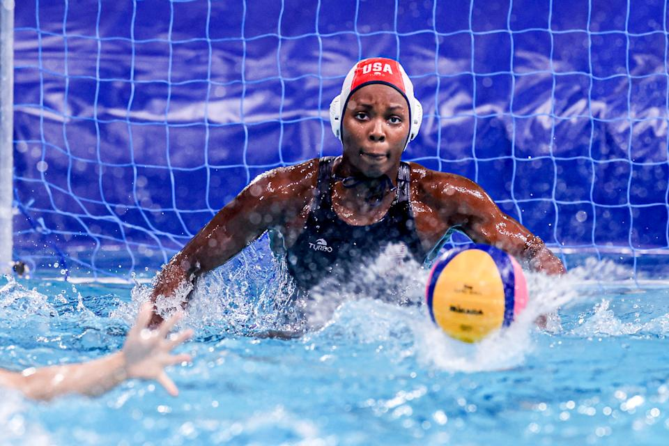 Ashleigh Johnson has been in goal for a ton of U.S. women's water polo success over the past several years. (Photo by Marcel ter Bals/BSR Agency/Gettyimages)