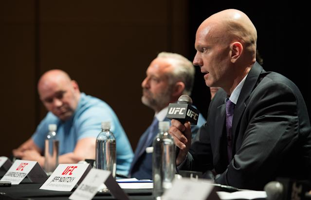 Jeff Novitzky, the UFC's senior vice president of athlete health & performance, speaks at a 2015 news conference announcing the company's anti-doping program. (Photo by Brandon Magnus/Getty Images)