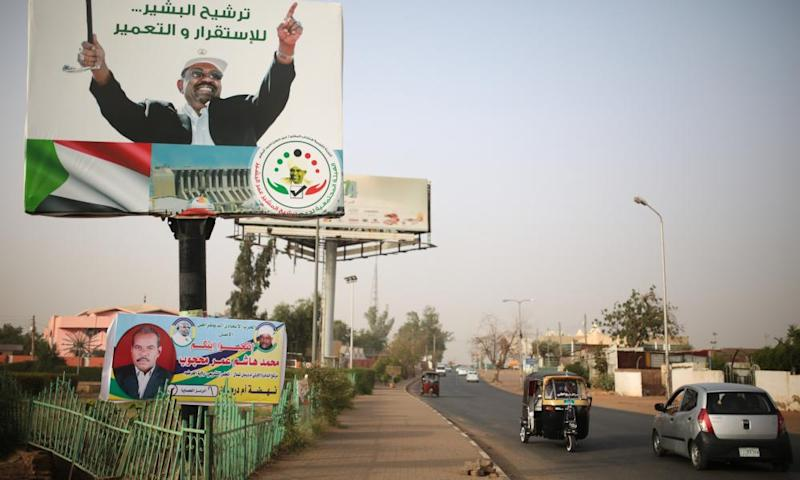 An election campaign banner in support of Omar al-Bashir in Omdurman, Sudan on 11 April 2015.