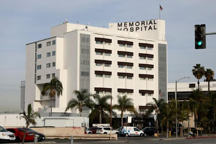 GARDENA, CA - JANUARY 13: Memorial Hospital of Gardena on Wednesday, Jan. 13, 2021 in Gardena, CA. The intensive care unit at Memorial Hospital of Gardena is at 320% occupancy, officials said Wednesday. The 172-bed hospital has been in various levels of internal disaster status since March. (Gary Coronado / Los Angeles Times)