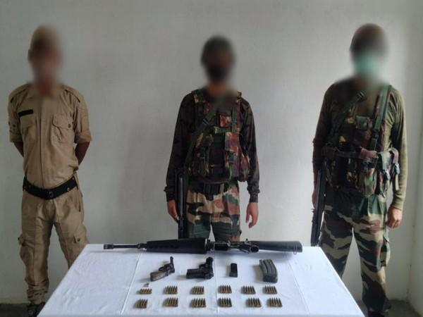 Security forces in Kangpokpi district of Manipur have busted a hideout and recovered a cache of arms and ammunition (Photo/ANI)