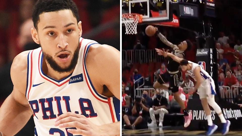 A hard foul on John Collins earned Australian NBA star Ben Simmons a flagrant foul during the Eastern Conference semi-finals.