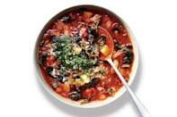"""No stock is required for this take on the classic soup—you'll get all the flavor you need from a bit of bacon, tomato paste, herbs, peppercorns, a Parmesan rind, and kosher salt. <a href=""""https://www.epicurious.com/recipes/food/views/kale-minestrone-with-pistou-51264070?mbid=synd_yahoo_rss"""" rel=""""nofollow noopener"""" target=""""_blank"""" data-ylk=""""slk:See recipe."""" class=""""link rapid-noclick-resp"""">See recipe.</a>"""