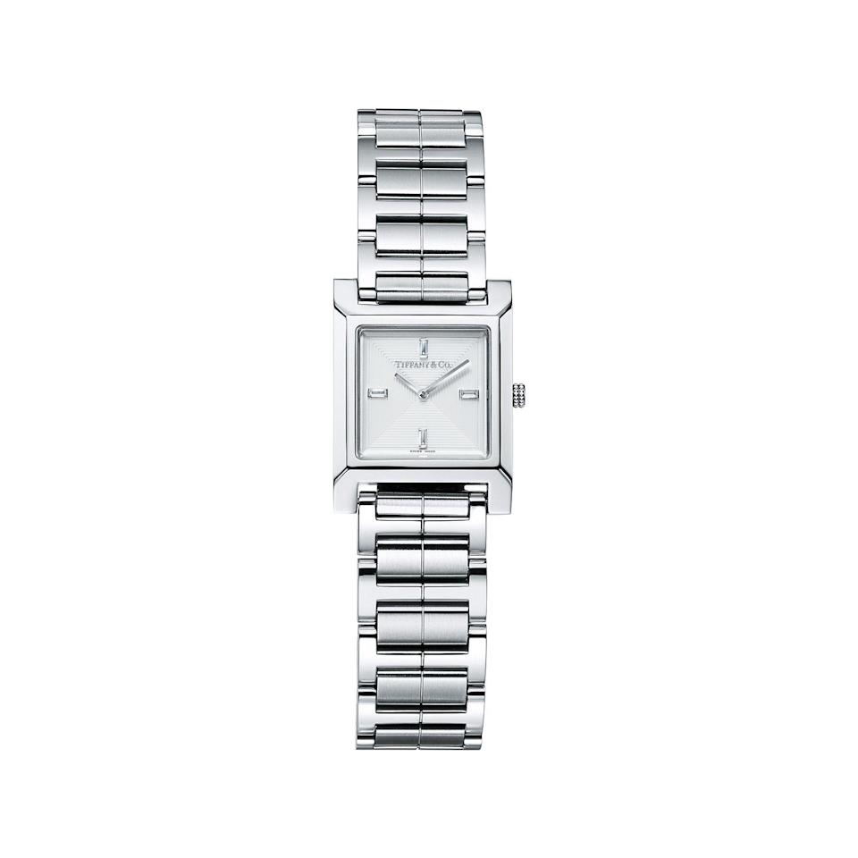 """<p><strong>Tiffany & Co.</strong></p><p>tiffany.com</p><p><strong>$1837.00</strong></p><p><a href=""""https://www.tiffany.com/watches/womens-watches/tiffany-1837-makers-22-mm-square-watch-67460413/"""" rel=""""nofollow noopener"""" target=""""_blank"""" data-ylk=""""slk:Shop Now"""" class=""""link rapid-noclick-resp"""">Shop Now</a></p><p>A classic option, this stainless steel watch from Tiffany has baguette diamond indexes for a truly luxe feel. </p>"""