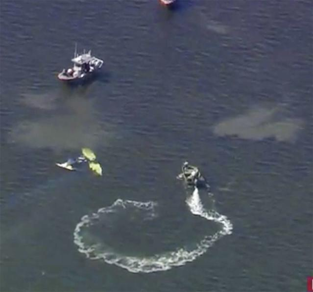 A search and rescue team circles a crash site where Roy Halladay's plane crashed in the Gulf of Mexico. (AP)