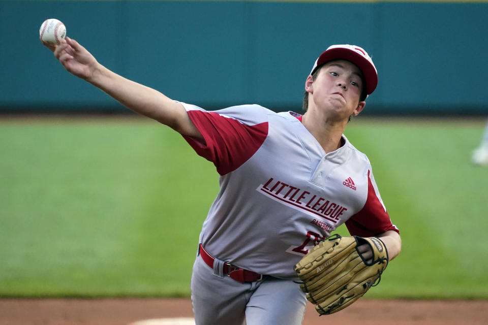 Sioux Falls, S.D., starting pitcher Maddux Munson delivers during the third inning of a baseball game against Lake Oswego, Ore., at the Little League World Series in South Williamsport, Pa., Monday, Aug. 23, 2021. (AP Photo/Gene J. Puskar)