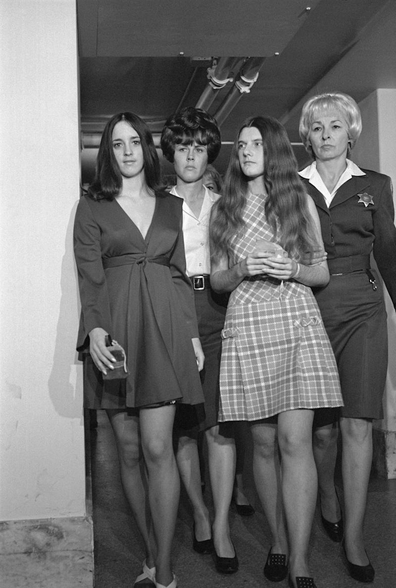 Susan Denise Atkins, left, and Patricia Krenwinkel, second from right. (Bettmann via Getty Images)
