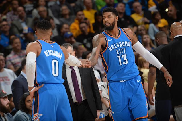 Russell Westbrook and Paul George were the two best players on the floor at Oracle Arena on Tuesday. That doesn't often happen to the Warriors. (Getty)