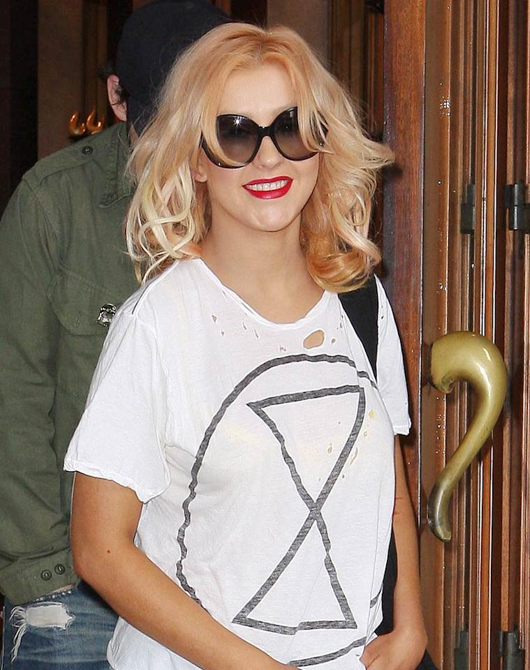 "We're all for the comfy and casual look, but Christina Aguilera should know better than to dine at renowned restaurateur Wolfgang Puck's Spago in a tattered T-shirt. How tacky! Rafael/<a href=""http://www.x17online.com"" target=""new"">X17 Online</a> - July 8, 2010"