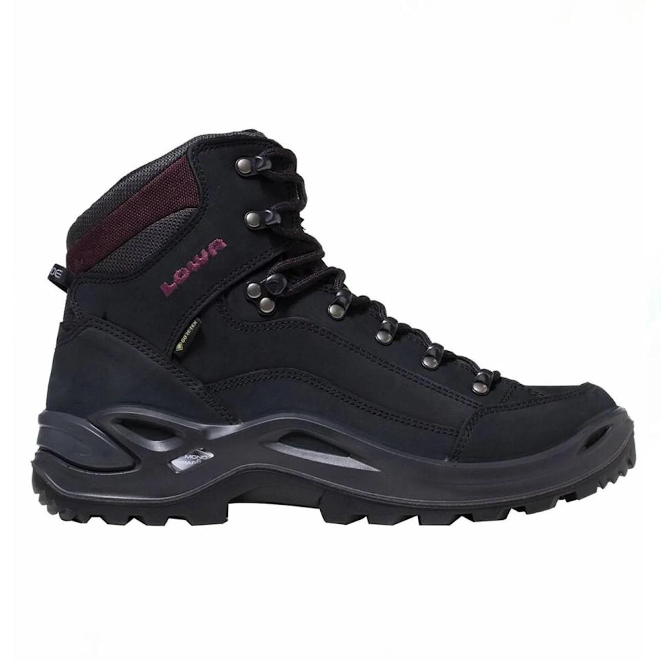 """If you want a no-frills boot you can come back to year after year, this is it. Lowa's tried-and-true Renegade style has been around for over 20 years and is beloved by seasoned and amateur hikers alike. The shoe is super sturdy—the D-ring hooks (read: the metal pieces that secure the laces) help lock your ankle in place for max support—and the thick Vibram sole (considered the gold standard for grip and durability) offers a serious amount of traction on slippery, muddy grounds. The Nubuck material is also waterproof, meaning your feet will stay dry whether you're traversing a river or hot-footing through a torrential downpour. $240, Backcountry. <a href=""""https://www.backcountry.com/lowa-renegade-gtx-mid-hiking-boot-womens"""" rel=""""nofollow noopener"""" target=""""_blank"""" data-ylk=""""slk:Get it now!"""" class=""""link rapid-noclick-resp"""">Get it now!</a>"""