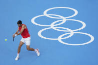 Novak Djokovic, of Serbia, practices for the men's tennis competition at the 2020 Summer Olympics, Thursday, July 22, 2021, in Tokyo, Japan. (AP Photo/Patrick Semansky)