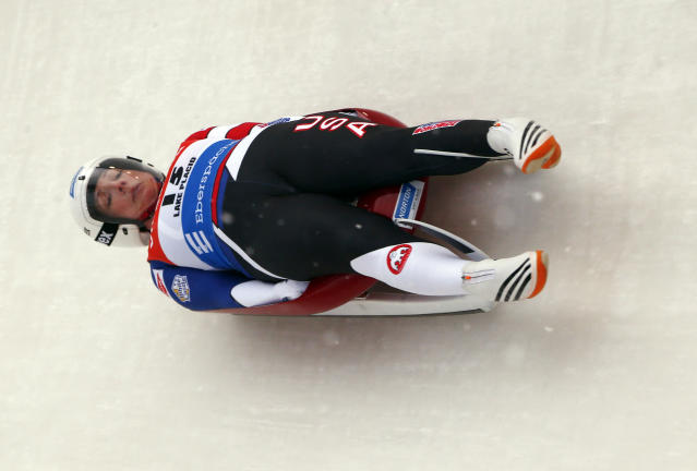 Erin Hamlin of the United States takes a curve during a World Cup luge event in Lake Placid, N.Y., on Saturday, Dec. 16, 2017. (AP Photo/Peter Morgan)