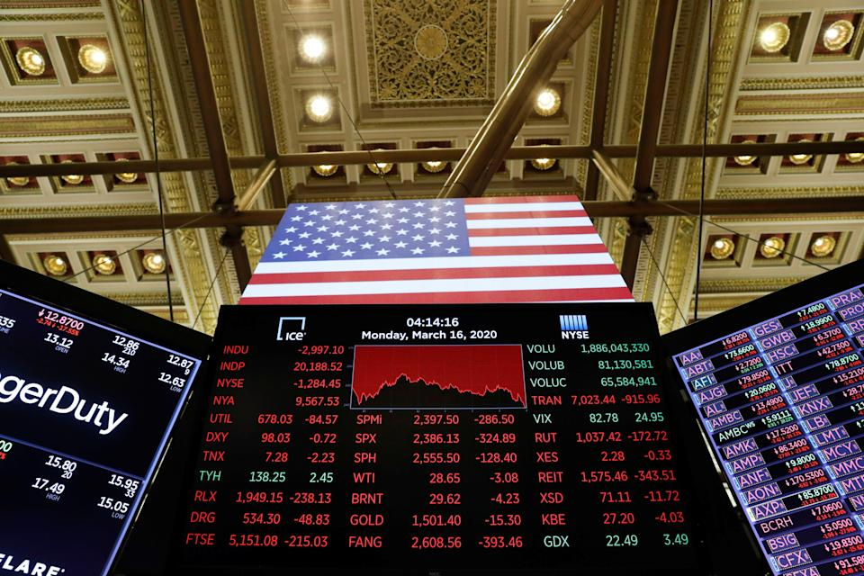 A price screen display is seen above the floor of the New York Stock Exchange (NYSE) shortly as coronavirus disease (COVID-19) cases in the city of New York rise, in New York, U.S., March 16, 2020. REUTERS/Lucas Jackson