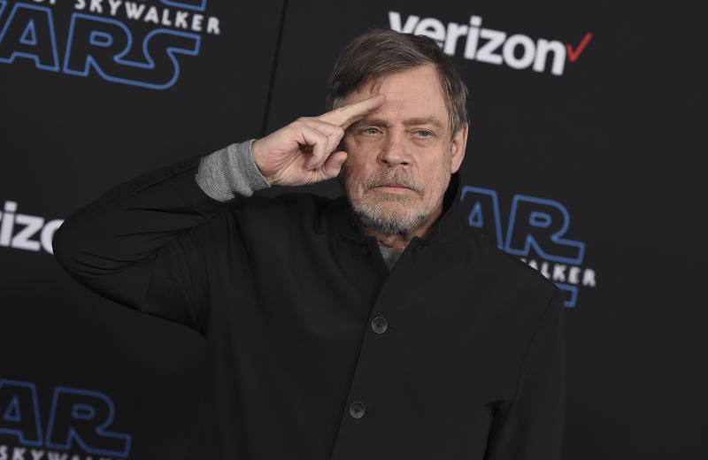 "Mark Hamill arrives at the world premiere of ""Star Wars: The Rise of Skywalker"" on Monday, Dec. 16, 2019, in Los Angeles (Jordan Strauss/Invision/AP)"